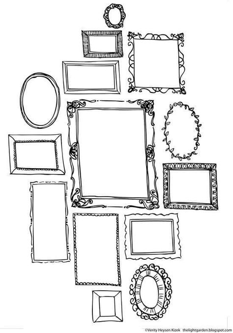Hand drawn doodles of a variety of picture frames   Doodles, Royalty ...