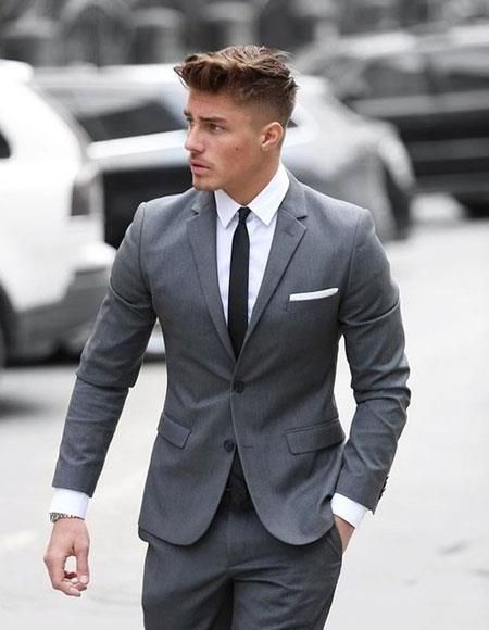 Cheap Mens Slim Fit Suits Skinny Fitted Suits Wedding Suits Men Grey Grey Suit Men Wedding Suits Men
