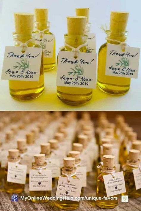 These olive oil wedding favors are made from authentic Greek oil. Alice grows her own organic olive oil from her family's tree grove in Athens, Greece. Then infuses it with your choice of herbs. Look for them in the Edible Favor ideas section of non-traditional wedding favors post on MyOnlineWeddingHelp.com #WeddingFavors #WeddingIdeas #OliveOilFavors #EdibleFavors