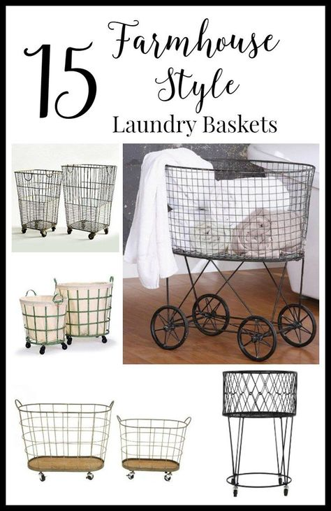15 farmhouse style laundry baskets for your home.  Take your laundry room from drab to fab. | http://Twelveonmain.com