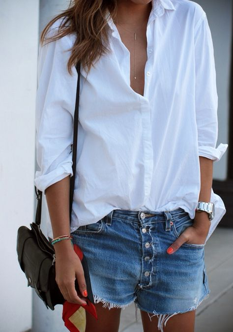 classic whit button down and denim cut offs