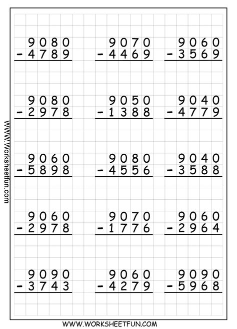 4 Digit Subtraction With Regrouping Borrowing 9 Worksheets Fichas De Exercicios De Matematica Planilhas Escolares Exercicios De Matematica