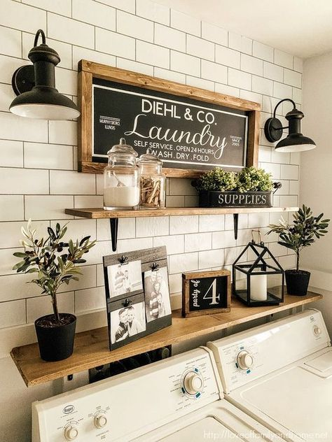 7 Genius Ways to Bring Storage into a Small Laundry Room! Pack a lot of style and storage into a small space with these inspiring laundry room storage ideas. ideas for small spaces laundry Seven Genius Ways to Bring Storage into a Small Laundry Room! Rustic Laundry Rooms, Laundry Decor, Laundry Room Organization, Laundry Room Design, Organization Ideas, Laundry Storage, Laundry Room Shelving, Laundry Organizer, Laundry Room Decorations