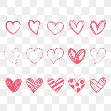 Pink Hand Drawing Love Heart Icons Design Element Set Classical Collection Day Png And Vector With Transparent Background For Free Download How To Draw Hands Cute Pink Background Heart Icons