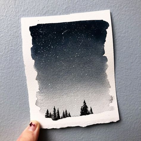 Watercolor Landscape Painting | Night sky painting | optional custom quote | forest painting