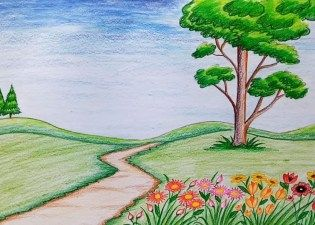 How To Draw Scenery Of Flower Garden Step By Step Very Easy Flower Garden Drawing Drawing Scenery Easy Nature Drawings Landscape Drawings