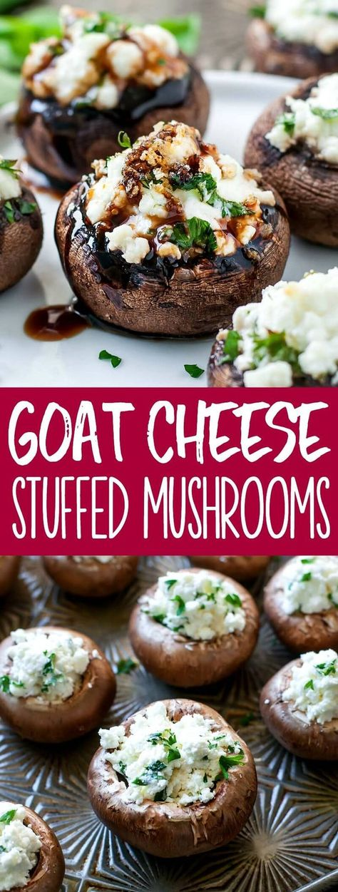 jazz up our appetizer game! These herbed goat cheese stuffed mushrooms are piled high with savory whipped goat cheese, spiked with fresh herbs, and drizzled with a sweet + savory balsamic reduction to make them over-the-top delicious. Goat Cheese Stuffed Mushrooms, Vegetarian Stuffed Mushrooms, Stuffed Mushroom Recipes, Mushrooms Recipes, Tartiflette Recipe, Whipped Goat Cheese, Mushroom Appetizers, Appetizers With Goat Cheese, Goat Cheese Recipes