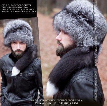 Davy Crockett Silver Fox Fur Hat Winter Fur Hat Fur Hat Men
