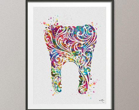 Dentistry Symbol Dentist Caduceus Watercolor Print Dentist Art Dental Clinic Art