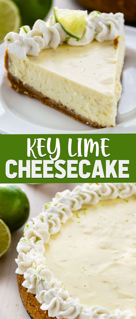 This is the BEST Easy Key Lime Cheesecake recipe! It's homemade from scratch with a graham cracker crust and tons of key lime flavor. It's the perfect spring cheesecake!