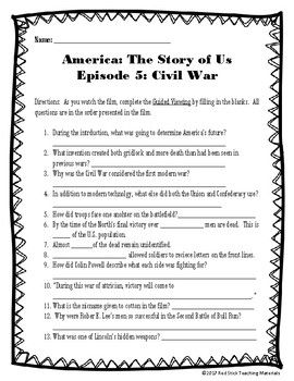 America The Story Of Us Viewing Guide Episode 5 Civil War No