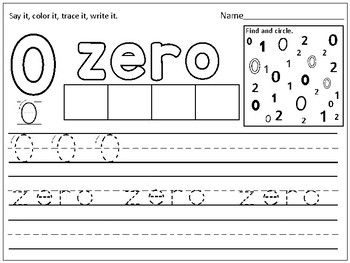 Free Number Zero Practice Page By Kids Learning Basket Tpt Numbers Preschool Kids Math Worksheets Preschool Number Practice