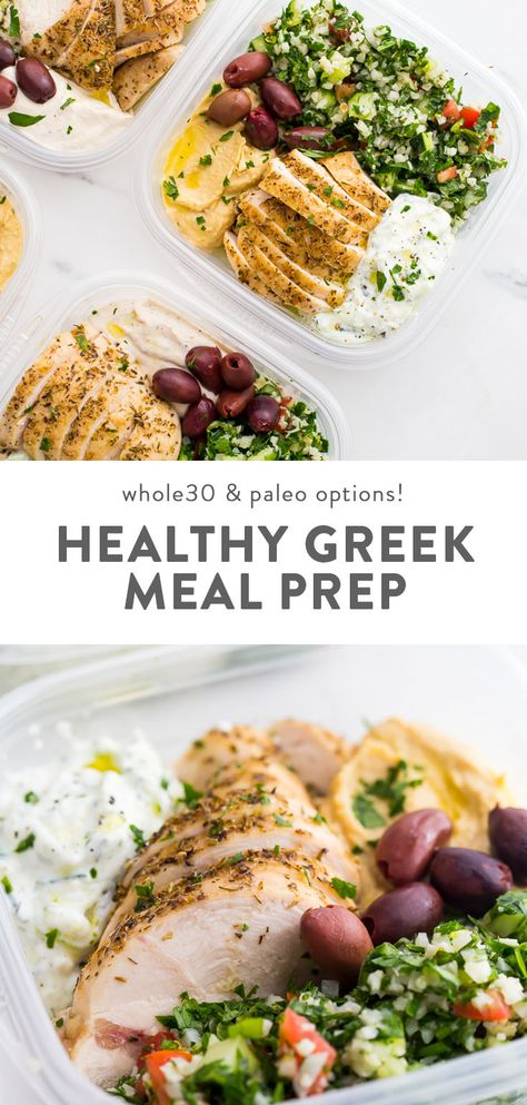 This Greek healthy meal prep recipe is epic: cauliflower rice tabbouleh, tender seasoned chicken breasts, hummus or baba ganoush, kalamata olives, and a rich, garlicky tzatziki. This healthy meal prep recipe will have you looking forward to lunch all morning! It's also a Whole30 meal prep recipe and paleo meal prep recipe, too, when you sub coconut cream or coconut yogurt for the yogurt. This is seriously SUCH a perfect healthy meal prep recipe. #mealprep #healthyrecipes #cleaneating #glutenfree