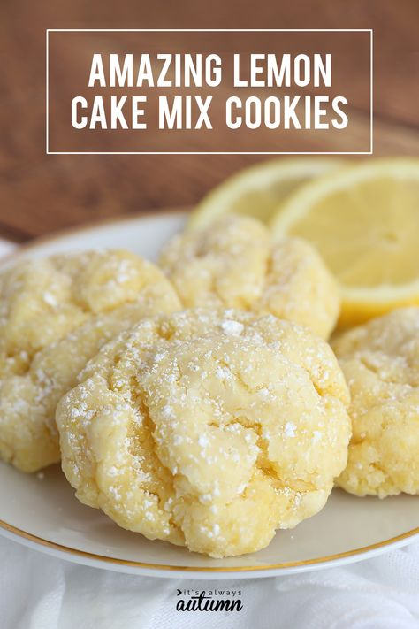 Lemon Cake Mix Cookies These lemon cookies taste like heaven! They're super soft and super easy to make with just 5 ingredients. Mélanges Pour Cookies, Lemon Cookies Easy, Lemon Cake Mix Cookies, Cake Mix Cookie Recipes, Lemon Cake Mixes, Easy Cheesecake Recipes, Lemon Cookie Recipe, Easy Lemon Cake, Easy Lemon Desserts