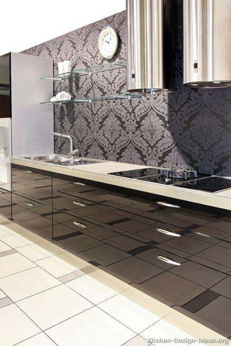 #Kitchen Idea of the Day: Modern Black Kitchen with a gorgeous patterned backsplash.