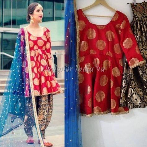 Salwar Kameez Red Banarsi Silk Kameez Black Silk Patiala Salwar Embroidered Net Dupatta Indian Desi