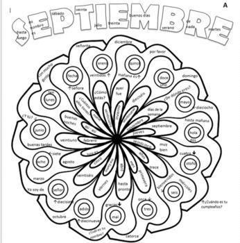Spanish Greetings Days Months Numbers Septiembre Coloring Page Coloring Pages Greetings Spanish Greetings