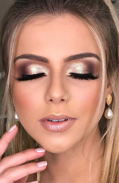 55 Stunning Makeup Ideas for Fall and Winter - makeup looks, wedding makeup, makeup looks for prom, natural makeup looks, wedding makeup looks for - Wedding Eye Makeup, Wedding Makeup For Brown Eyes, Bridal Makeup, Winter Wedding Makeup, Gold And Brown Eye Makeup, Brown Wedding Hair, Wedding Nails For Bride Natural, Bride Eye Makeup, Glitter Face Makeup