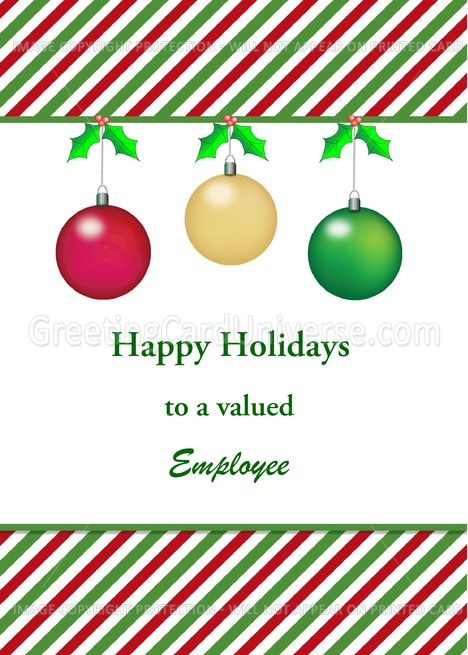 For Employee Customizable Business Christmas Card Three Ornaments