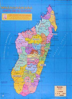 Madagasikara Carte Des 22 Regions Map Baobab Madagascar