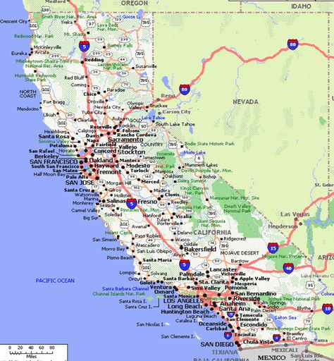 Californiaroadmap California Map California California Travel