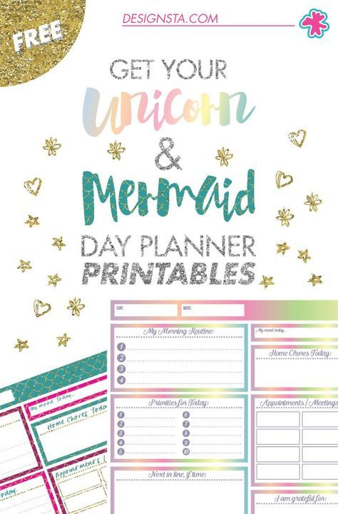 Get your FREE Unicorn  Mermaid Day Planner printables now