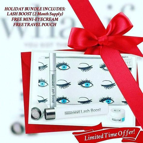 5 more weeks until christmas give the gift of longer fuller darker looking lashes and 100 natural our holiday bundle includes lash boost free cosmetic