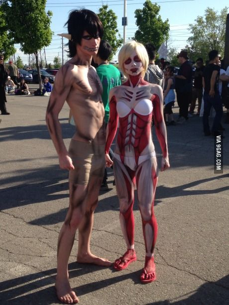 Cosplay Manga Wow O_O Anime: Shingeki no Kyojin (Attack on Titan) Characters, Left to Right: Eren Jaeger, titan form, Female Titan. - More memes, funny videos and pics on