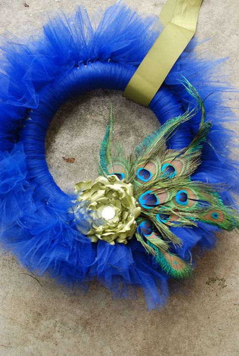 Prissy Peacock Tu-Tu tulle wreath- royal blue with green silk flower