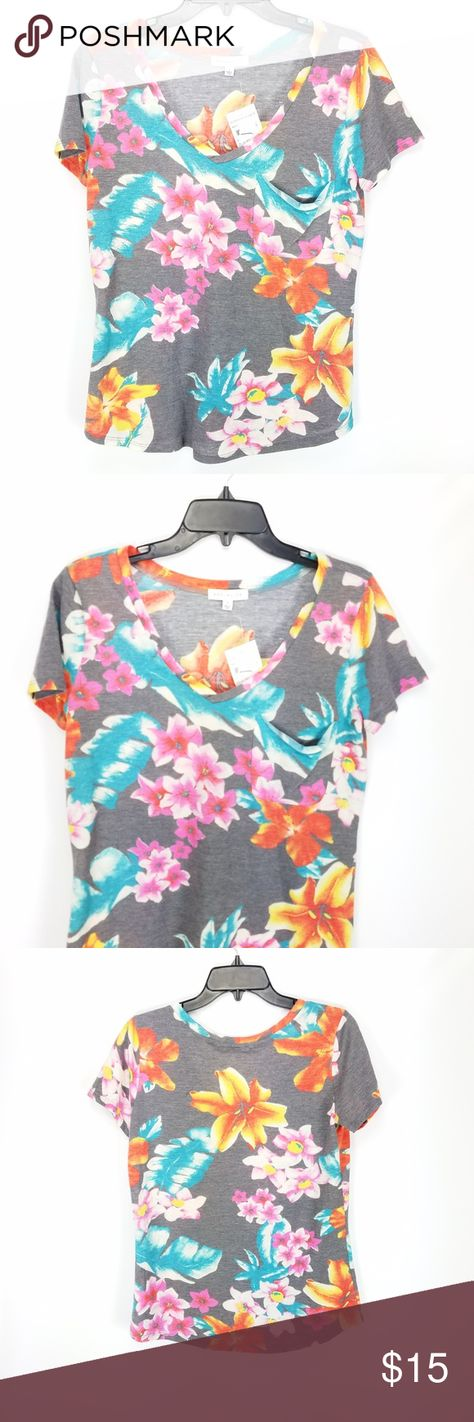 220ba2206172ac Socialite Floral Short Sleeve V Neck Top Socialite Top Small Gray Blue  Floral Short Sleeve V