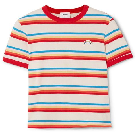 d2637b19539 RE DONESeventies Striped Cotton-jersey T-shirt ( 110) ❤ liked on Polyvore  featuring tops