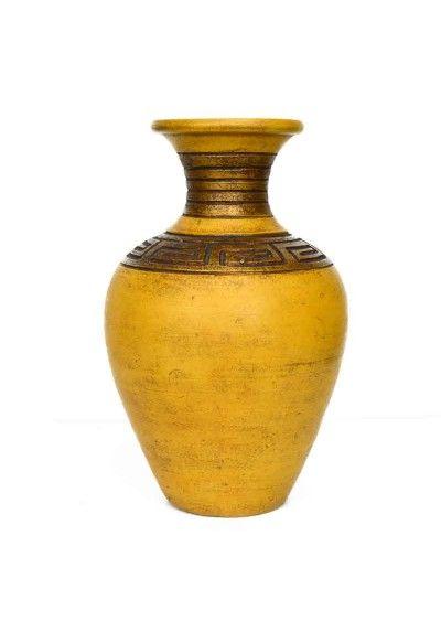 Jarron Vintage Fabricado En Ceramica Color Amarillo Albero Con Greca Versace Color Oro Y Marron Envejecido Medidas Jarrones Jarrones Rusticos Florero Vintage