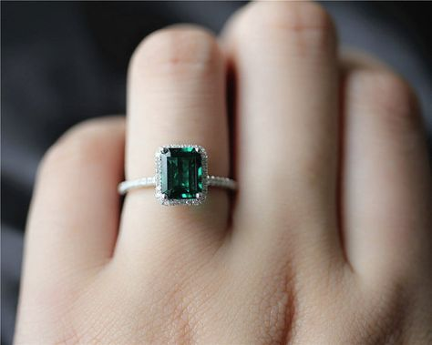 Emerald Cut AAA Emerald Ring Solid 14K White Gold by JulianStudio