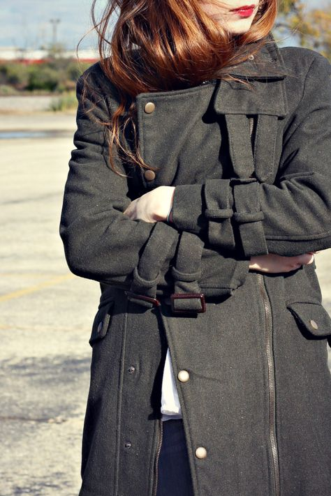 olive-green coat and the perfect errand outfit