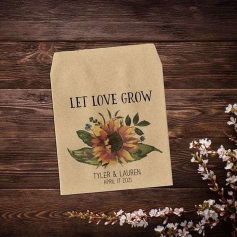 Let Love Grow Favor, Sunflower Seed Packets, #weddingfavours #seedpackets #seedfavors #weddingfavors #weddingseedfavor #wildflowerseeds #letlovegrow #weddingseedpackets #bohowedding #rusticwedding #sunflowerseeds #seedpacketfavor #sunflowerseedfavor