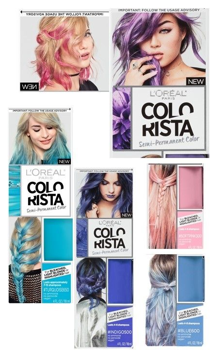 Pink Blue Purple Hair Dye Colorista Semi Permanent Hair Color For
