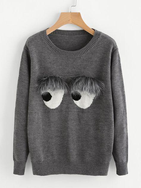 Faux Fur Embellished Eyes Pattern Jumper -SheIn(Sheinside)