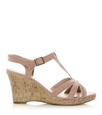 d035672959d Wide Fit Stone Strappy T-Bar Cork Wedges
