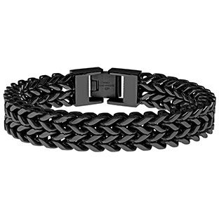 Men's Black Plated Stainless Steel 12MM Wheat Chain Bracelet Available Exclusively at Gemologica.com Our complete line of mens steel bracelets can be found at www.gemologica.com/mens-stainless-steel-bracelets-c-28_45_172.html