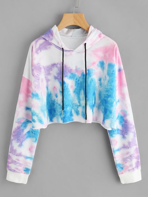 SheIn offers Hooded Water Color Drawstring Sweatshirt & more to fit your fashionable needs.