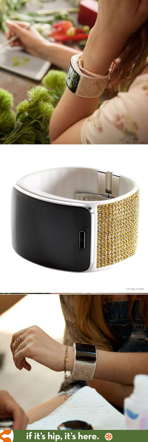 Swarovski designs a crystallized band for the new Samsung Gear S watch. Details at http://www.ifitshipitshere.com/swarovski-diesel-design-new-samsung-gear-s-watch/