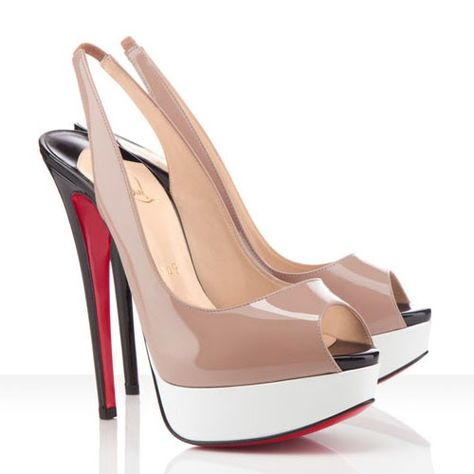 Christian Louboutin Lady Peep Sling 150mm Patent Leather Pumps Nude Email  to a Friend Be the first to review this product Christian Louboutin Lady  Peep ... 2cf7a86af555