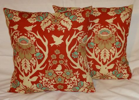 Two Joel Dewberry Antler Damask Terracotta Pillow by HomeLiving, $38.00
