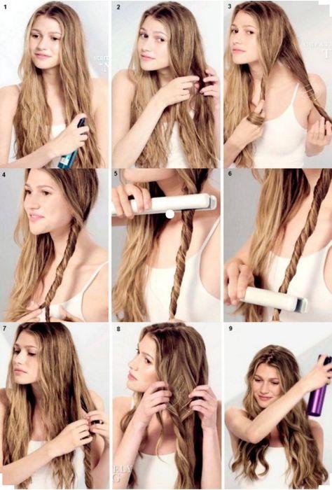 Wavy Hairstyles Tutorial, Curled Hairstyles, Braided Hairstyles, Curly Hair Tutorial, Easy Casual Hairstyles, Hair Curling Tutorial, Curling Iron Hairstyles, No Heat Hairstyles, Hairstyle Ideas