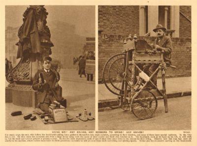 Brillare Signore?  Qualsiasi coltelli, forbici qualsiasi per macinare?  Lustrascarpe uomo, vecchia stampa 1926
