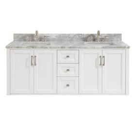Shop Allen Roth Floating White Double Sink Vanity With Carrara