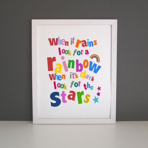 When it rains look for a rainbow nursery art print by OrlyArt
