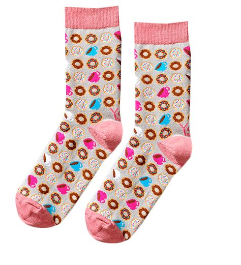 751275dd81cb Coffee and Donuts Socks with a Bright Pink Heel and Toe