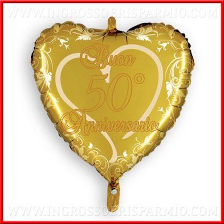 Palloncini Cuore Oro 50 Anni Matrimonio 45cm Decorazioni