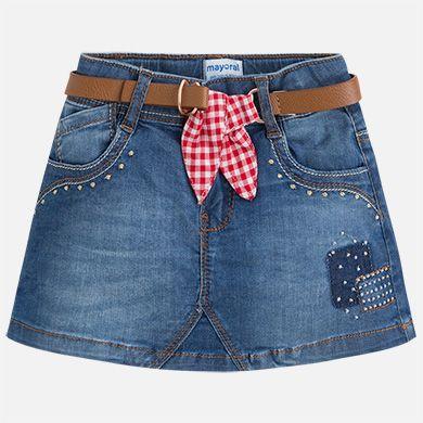 e434fb399 Falda tejana mini con cinturón de lazo para niña | Las faldas | Ropa ...